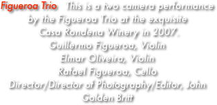 Figueroa Trio   This is a two camera performance by the Figueroa Trio at the exquisite